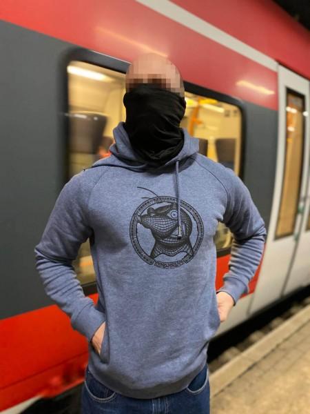 Eisenbahnfreunde Pullover Maulwurf mit Haube blau