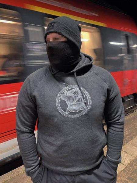 Eisenbahnfreunde Pullover Maulwurf mit Haube dunkelgrau